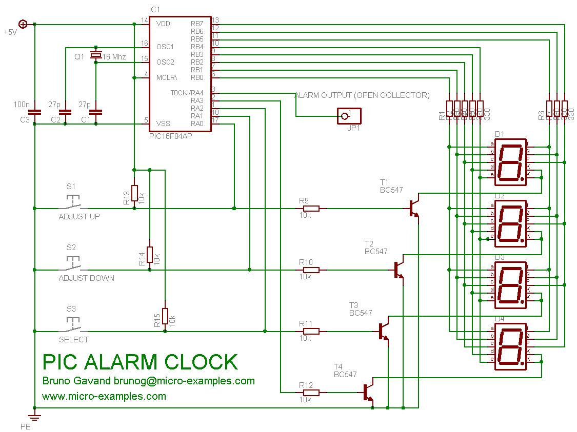 hight resolution of pic16f84a alarm clock schematic