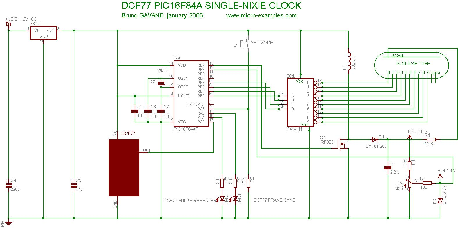 hight resolution of pic16f84a dcf77 nixie clock circuit diagram