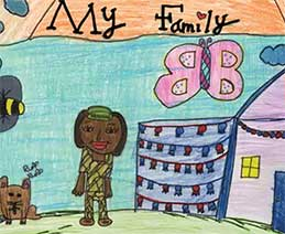 """Crayon/colored pencil drawing entitled, """"My Family,"""" showing a female soldier in camouflage outside a cheerful house with banners and a puppy, a pretty bee, and butterfly. Art by Gabrianna, Grade 4. Fort Benning, GA. U.S. Army."""