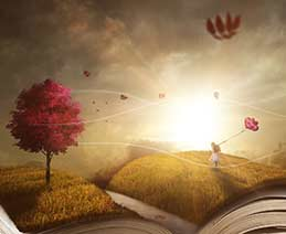 Fantasy-like illustration of an open book with a girl holding balloons walking across the pages.