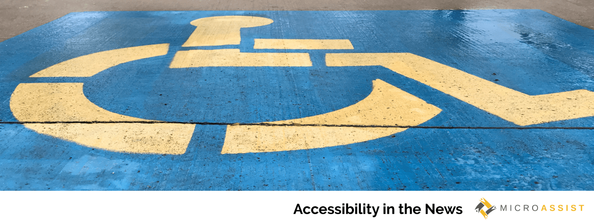 Large wheelchair symbol on pavement of parking space | Microassist Accessibility in the News