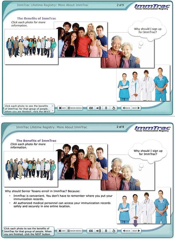 Two elearning pages. First page show 4 photos, each with a different demographic. The photo of an elderly couple has a thought bubble with a question. The second page shows that question being answered below the photos.