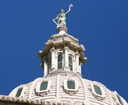 Tip of the State of Texas Capitol Building dome and its Goddess of Liberty