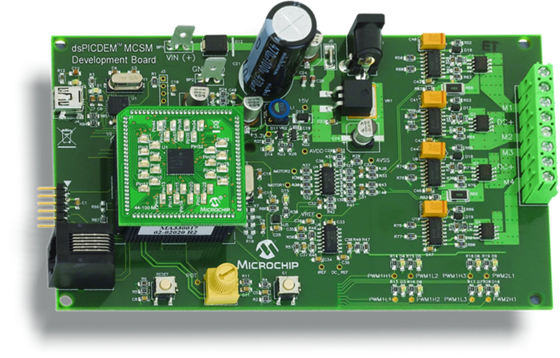 hight resolution of the microchip dspicdem mcsm development board is targeted to control both unipolar and bipolar stepper motors in open loop or closed loop current control