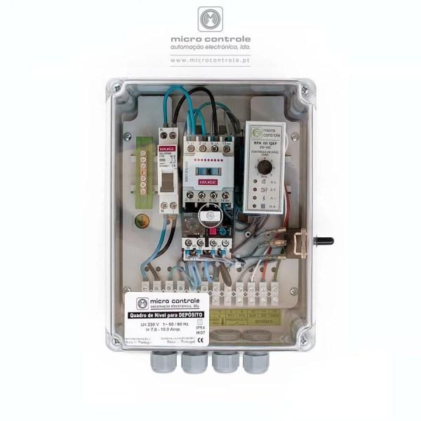 Quadro de nível de depósito para controlo e proteção de electrobombas submersíveis – QN QED - Vista de topo