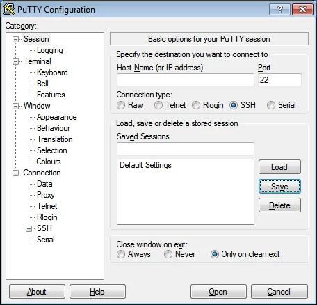 SSH kapcsolat - Raspbian - SSH
