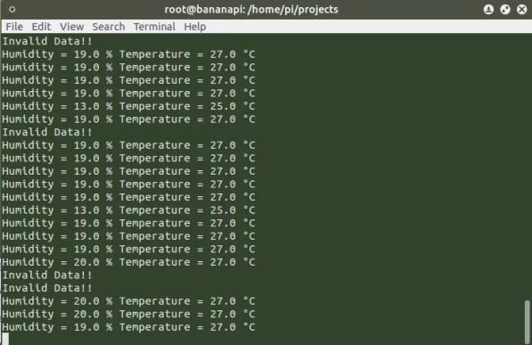 Bananapi és DHT11 mérési adatok