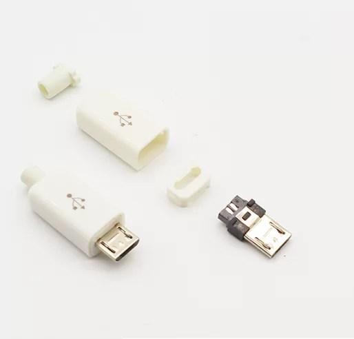 Szerelhető Micro USB apa csatlakozó - Fehér