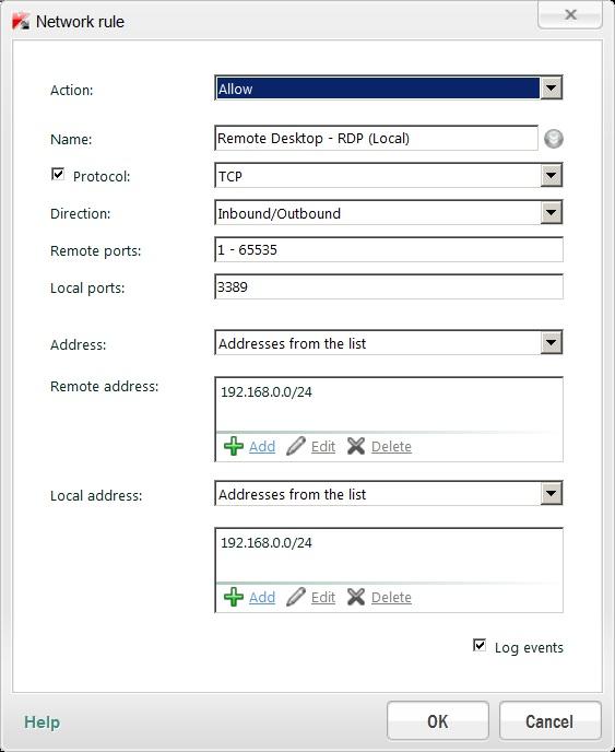 RDP Windows 7 Home Premium Kaspersky Settings