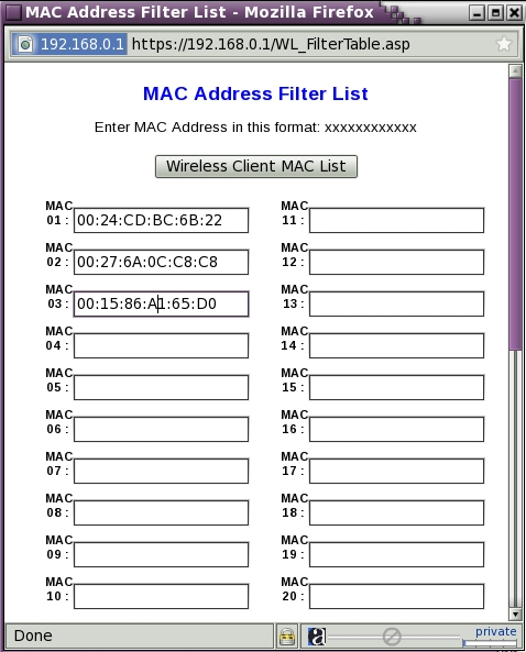 WRT54G - Wireless - Edit MAC Filter List