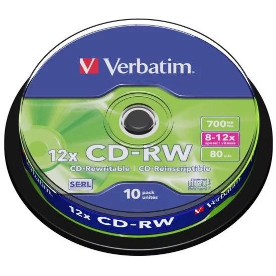 cd vierge reinscriptible verbatim cd rw boite de 10