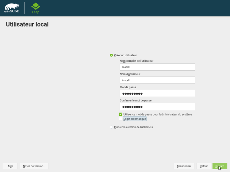 OpenSUSE Leap Installation Rapide