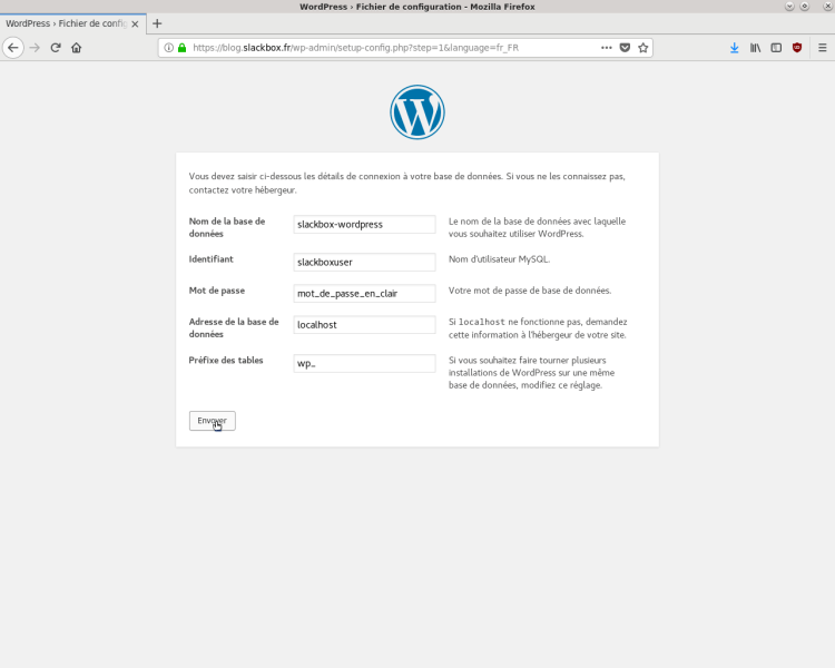 Configuration WordPress