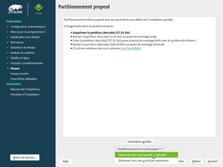 OpenSUSE Partitionnement UEFI