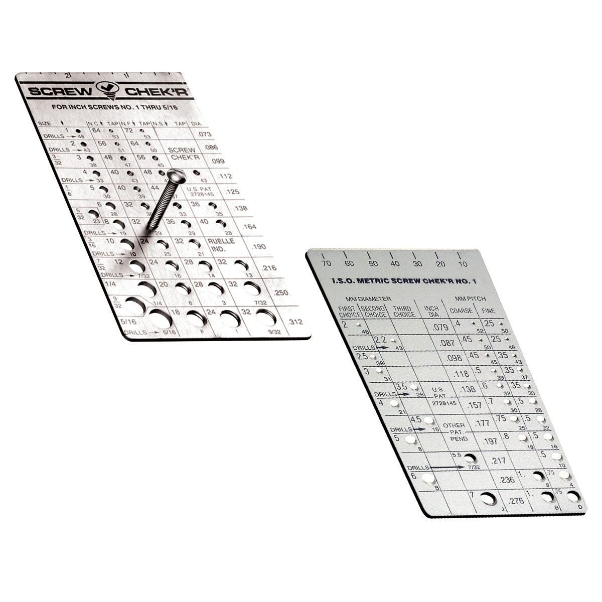 Inch And Metric Screw Check'R Set Of 2 Screw Checker