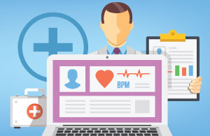 benefits of patient portal: an illustration of a patient portal feature a screen, a doctor, and a chart