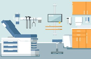 A primary care practice or retail clinic displayed in an illustration