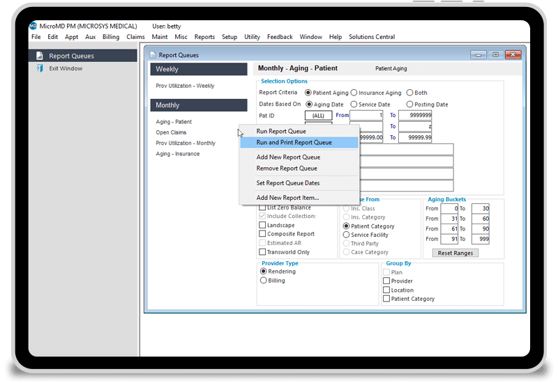 Reporting window of MicroMD PM for monthly or weekly aging reports.