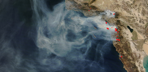 Incendios forestales, vista de satelite