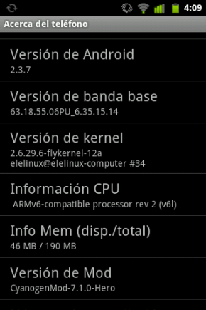 HTC Hero - Android 2.3