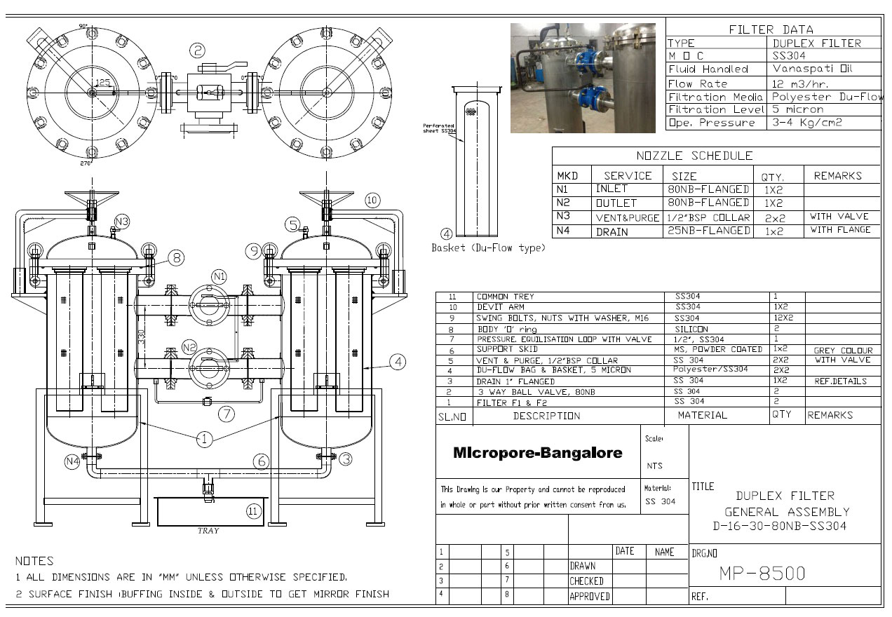 hight resolution of duplex polish filter for edible oil