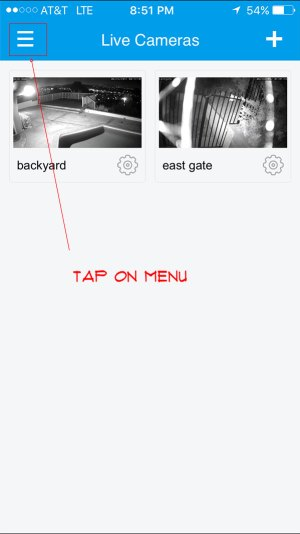 tap on the menu