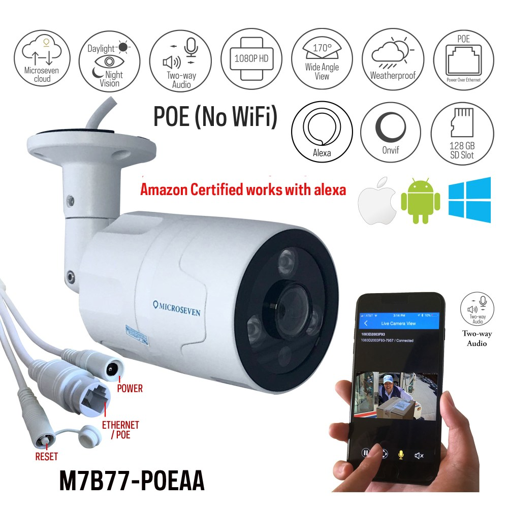 medium resolution of microseven open source 1080p 30fps sony cmos hd poe outdoor camera amazon certified works
