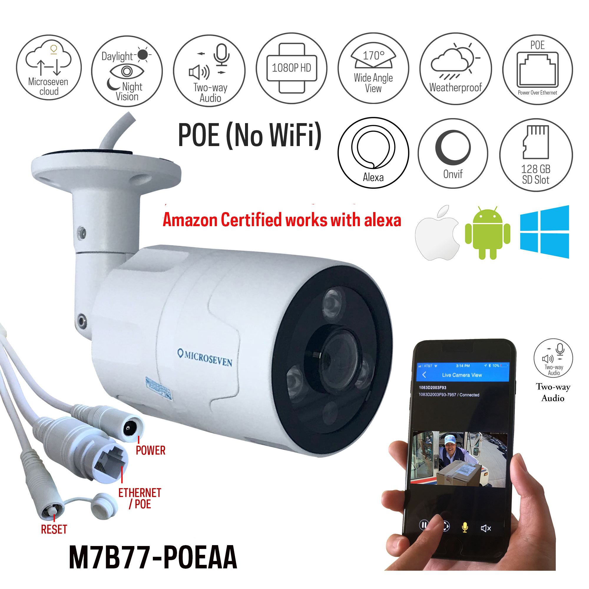hight resolution of microseven open source 1080p 30fps sony cmos hd poe outdoor camera amazon certified works