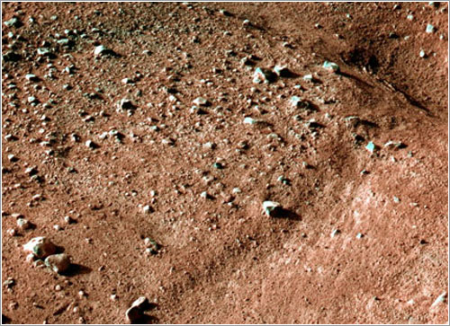 Aspecto del suelo de Marte sobre el que se ha posado la MPL - NASA/JPL-Calech/University of Arizona