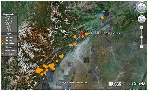 Terremotos de China en Google Earth