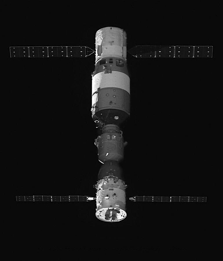 Tiangong 2 visto desde su satélite auxiliar