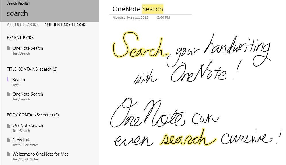 Handwriting Search and Apple Watch support for OneNote