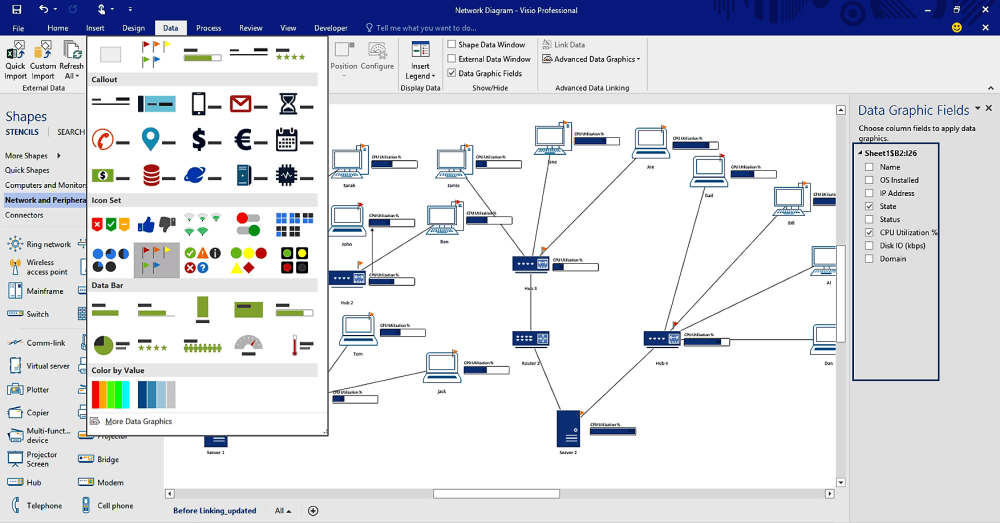 medium resolution of easily connect data to diagrams with visio