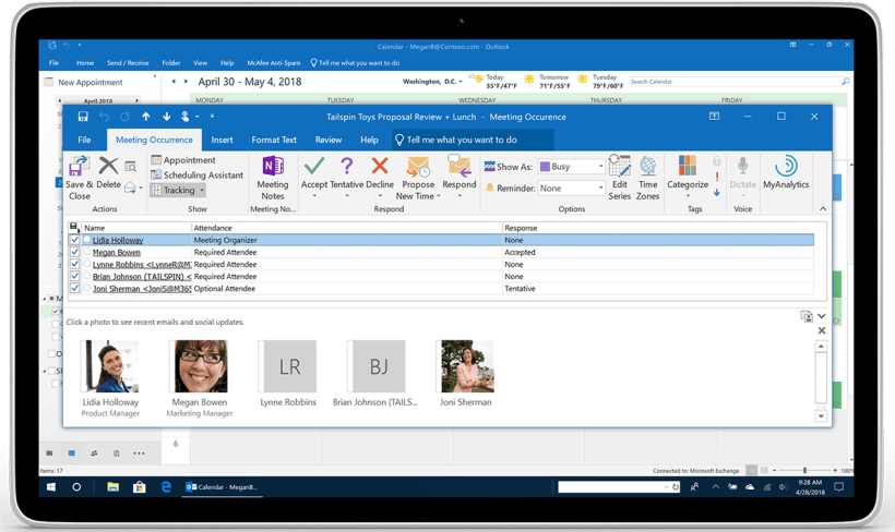 A Tablet Showcases Meeting Rsvp Tracking And Forwarding In Outlook