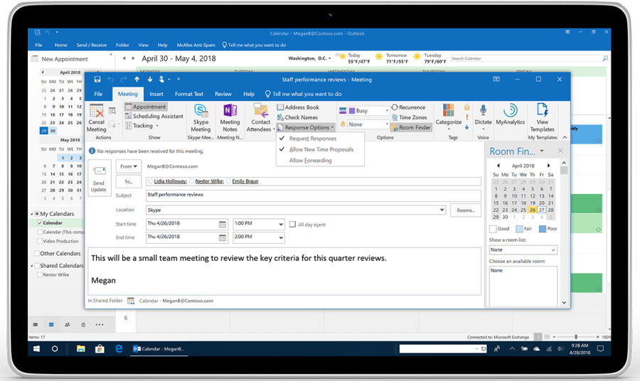 A tablet displays Response Options for a meeting request in Outlook.