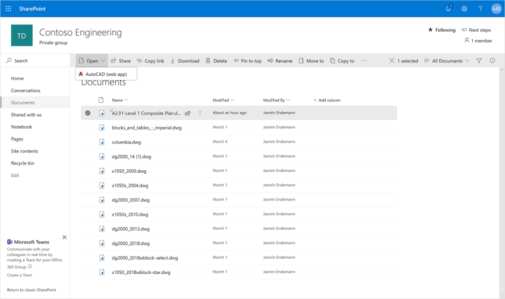 medium resolution of screenshot of the autocad web app opening in sharepoint