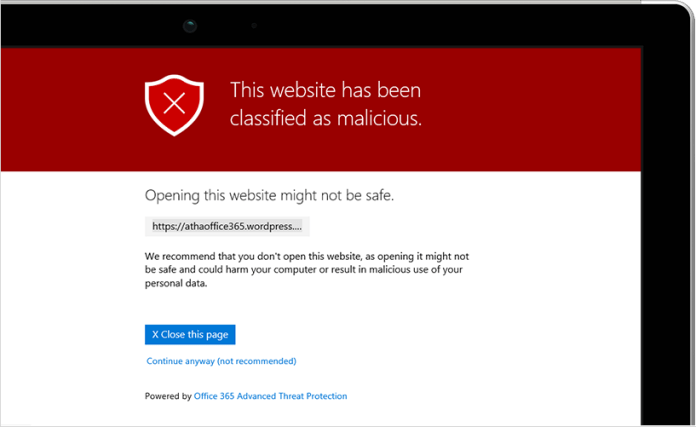 Image of a message appearing on a tablet screen showing a website that has been classified as malicious.
