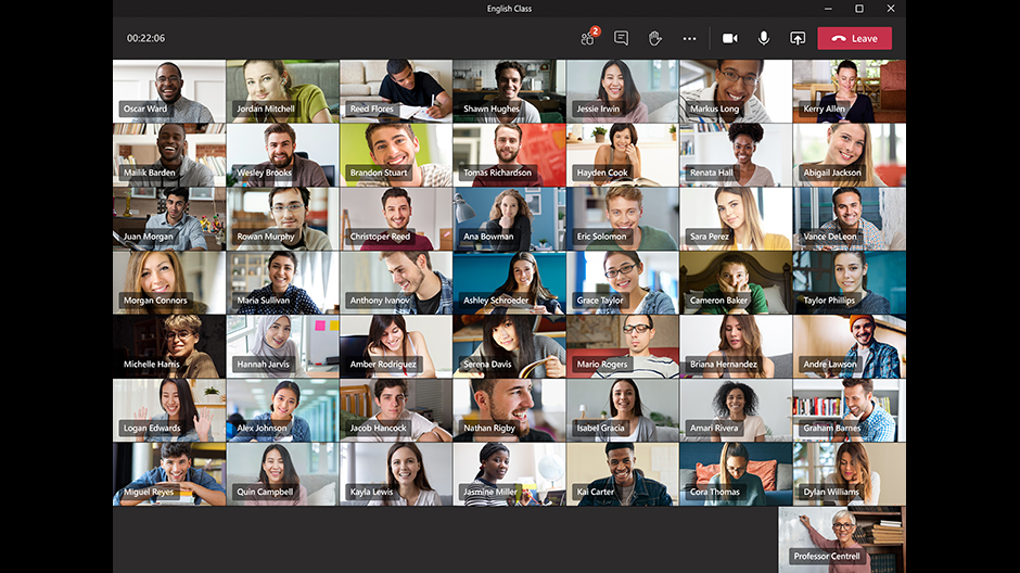 An image of the new 7x7 feature in Microsoft Teams.