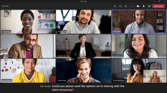 Live captions in Microsoft Teams