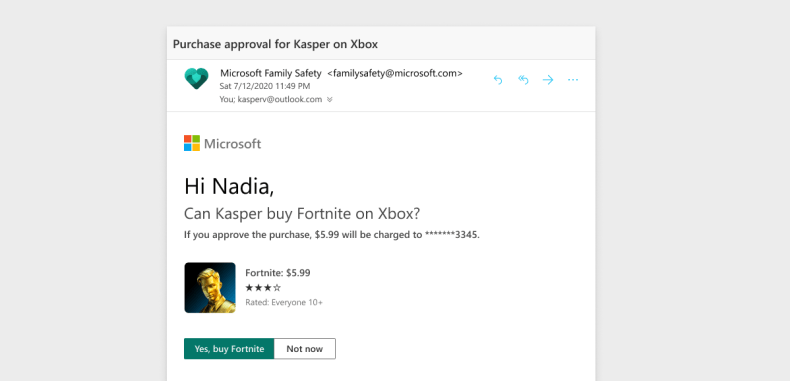 An image of a a purchase notification on Microsoft Family Safety App.