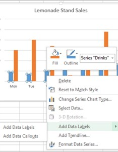 Once the series is selected  can right click any column to pull up context menu then add data labels entry also adding rich charts in excel microsoft blog rh