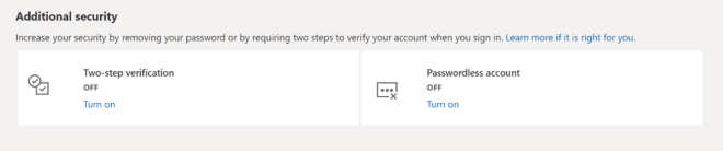 Microsoft Authenticator screen showing the option to go passwordless.
