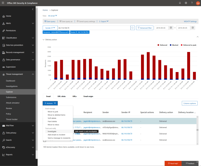 Screenshot of an action being taken in the Office 365 Security and Compliance dash. An email is being investigated.