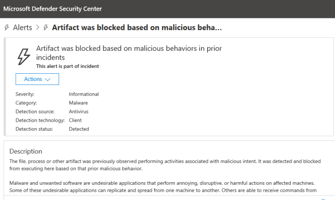 Microsoft Defender ATP showing Artifact was blocked based on malicious behavior in prior incidents