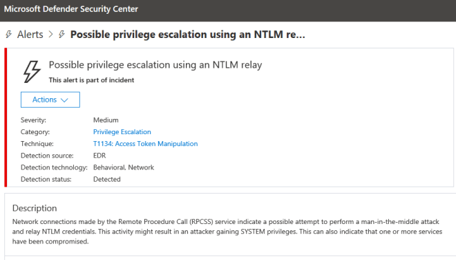 Microsoft Defender ATP showing Possible privilege escalation using NTLM relay
