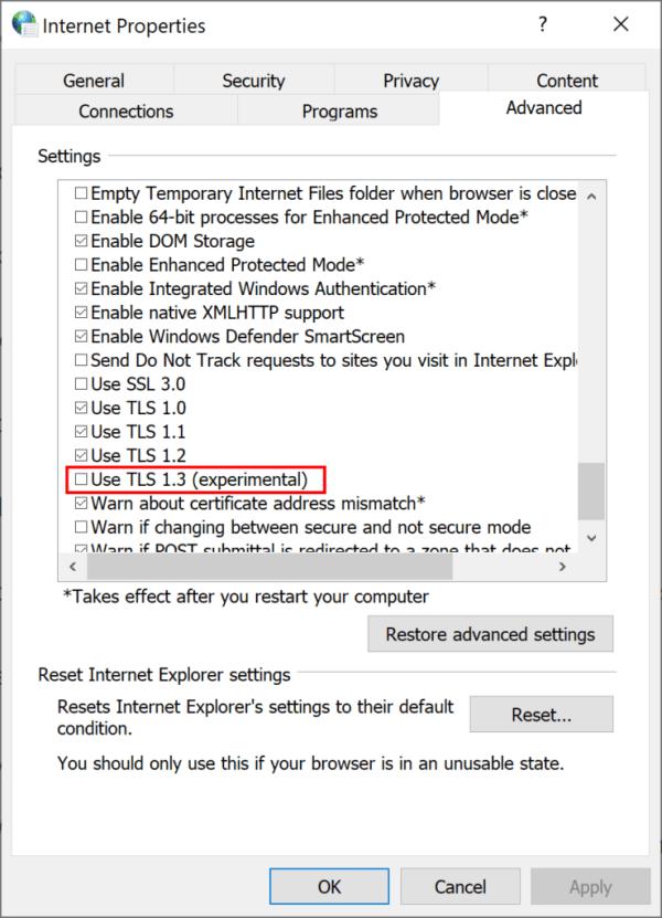 Screenshot of Advanced settings tab in Internet options menu, showing TLS 1.3 option