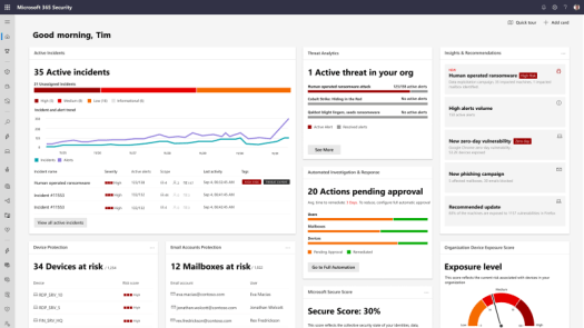 An image of the Microsoft 365 Defender dashboard.