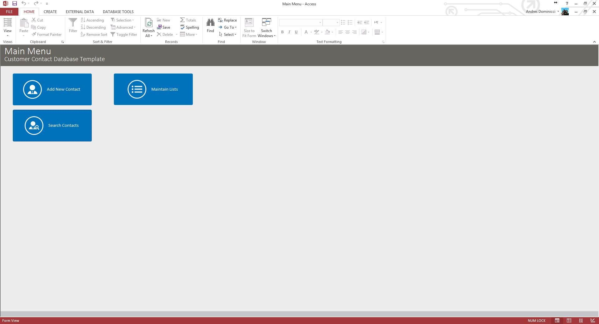 Custom Customer Contact Database Template