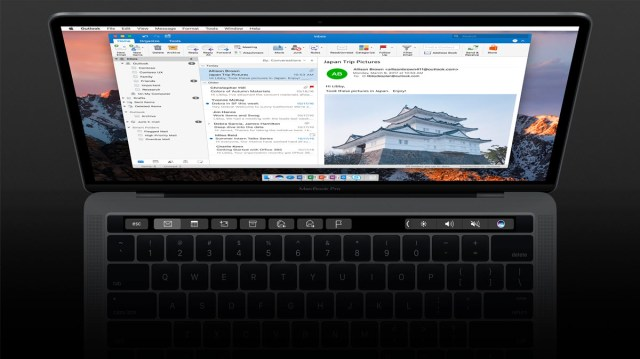 La Touch Bar de Outlook para Mac