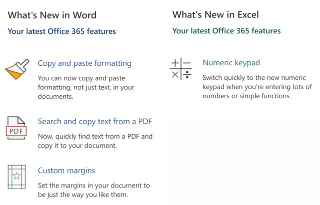 Changelog de Word y Excel
